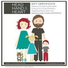 GIFT CERTIFICATE for a Custom Portrait - Family of Four and Pet - Gift Ideas, Christmas  by Head Hand & Heart