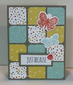 Generic Card - Squares, Patterned Paper & Butterflies. Could use Buttons for Male or Female option.