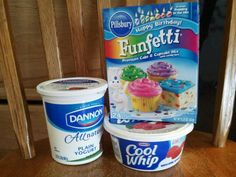 Confetti Dip 11/2 Cup Plain Yogurt 2 Cups Cool Whip Box of Cake Mix Mix together refrigerate for an hour Serve with Animal crackers, Graham crackers or Vanilla Wafers