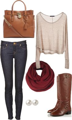 Fall outfit: because who doesn't love the skinny jeans and tall boots combo?