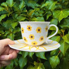 Hand painted Sunflower teacup and Saucer set by The Quirky Cup Collective