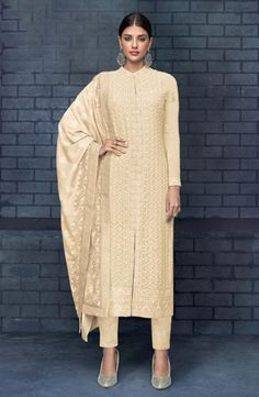 Faux Georgette Party Wear Salwar Kameez in Beige and Brown with Resham work Brown Things brown color salwar kameez Indian Designer Outfits, Indian Outfits, Indian Attire, Lucknowi Suits, Straight Cut Pants, A Line Kurta, Pakistani Suits, Pakistani Dresses, Bollywood Suits