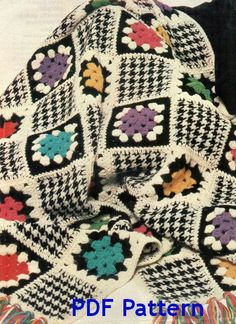Oh my, I love Houndstooth. This is soooo cool. Vintage Houndstooth Granny Square Afghan by BubbleGumInTheMail, $2.50