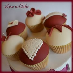 Claret and Ivory Valentine's day cupcakes - Vanilla cupcakes with handmade toppers from my Valentine's day collection.