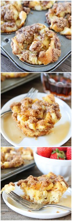 Baked French Toast Muffins on http://twopeasandtheirpo... Great breakfast for Christmas morning!