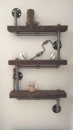 Industrial Rustic Urban Steel Pipe Shelves - steam punk - reclaimed wood