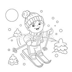 Clipart vectoriel : Coloring Page Outline Of cartoon boy riding on skis. Kids Bulletin Boards, Cartoon Boy, Winter Kids, Children Images, Clipart, Coloring Books, Coloring Pages Winter, Free Food, Outline