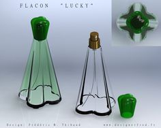 Perfume Bottle Design - love this retro feeling mixed with this vibrant green.