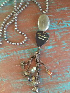 Guitar Pick Necklace on knotted chain