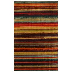 Amazon.com - Townhouse Rugs Bright Stripe Print Rug, 96-Inch by 120-Inch, Multi -