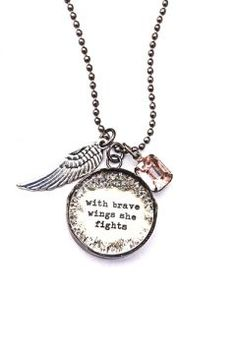 With Brave Wings She Fights .new breast cancer necklaces . Epilepsy Awareness, Breast Cancer Awareness, Breast Cancer Nails, Wire Wrapped Jewelry, Jewelery, Handmade Jewelry, Jewelry Making, Bling, Brave