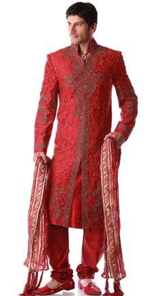 red silk sherwani