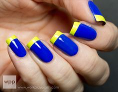 Tape Mani Week (Jul Incoco Lemon Fizz French Tips over Essie Butler, Please -- Add a black line between the blue and yellow for Dory nails. Glam Nails, Neon Nails, Yellow Nails, Beauty Nails, Cute Nails, Beautiful Nail Designs, Beautiful Nail Art, Neon Nail Designs, Nail Polish Art