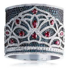 Faberge Bangle - white gold with Alexandrites, Diamonds and Rubies totalling 95.38 carats. Wow.