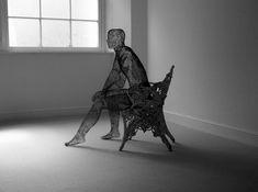 British artist Derek Kinzett uses wire mesh to create beautiful figure sculptures. Chicken Wire Sculpture, Driftwood Sculpture, Bird Sculpture, Metal Sculptures, Tate Gallery, Beautiful Figure, Wire Mesh, Wire Art, Sculpting