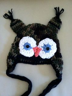 Crochet Camo Owl Hat 03 months by LJHCreations on Etsy, $15.00