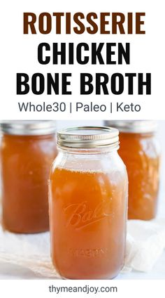 This recipe for bone broth uses store bought rotisserie chicken for an easy healthy way to benefit your health. Learn how to make chicken bone broth in the crock pot or instant pot if you want a fast cooking broth. Great for keto, carnivore diets and Bone Broth Crockpot, Chicken Bone Broth Recipe, Make Chicken Broth, Bone Broth Soup, Chicken Broth Recipes, Homemade Bone Broth, How To Cook Chicken, Recipe For Bone Broth, Chicken Bone Broth Benefits