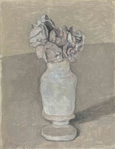 Fiori (1952) by Giorgio Morandi (1890-1964), Italian - The Metaphysical painting (Pittura Metafisica) phase in Morandi's work lasted from 1918 to 1922. This was to be his last major stylistic shift; thereafter, he  concentrated almost exclusively on still lifes and landscapes. With great sensitivity to tone, color, and compositional balance, he would depict the same familiar bottles and vases again and again in paintings notable for their simplicity of execution (wiki - thunderstruck9)