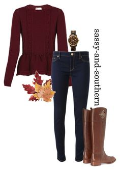 """""""cute fall outfit"""" by sassy-and-southern ❤ liked on Polyvore featuring RED Valentino, Michael Kors, Croft & Barrow, Tory Burch, MICHAEL Michael Kors and sassysouthernfall"""