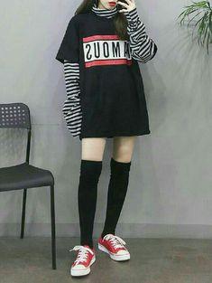 Korean clothes in 2019 korean girl fashion, fashion, fashion outfits. Korean Girl Fashion, Korean Fashion Trends, Ulzzang Fashion, Korean Street Fashion, Asian Fashion, Grunge Outfits, Edgy Outfits, Korean Outfits, Girl Outfits