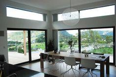Villa, Cool Designs, Dining Table, Cabin, House Design, Windows, Interior, Inspiration, Furniture