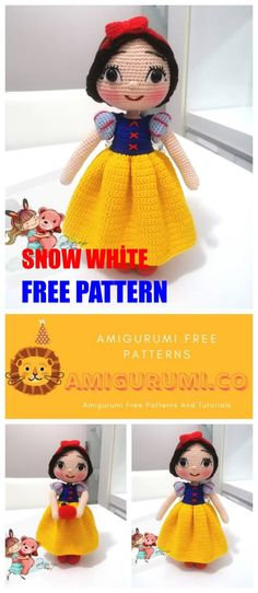 Amigurumi crochet toys related to the latest patterns we continue to bring you. Amigurumi snow white free pattern is waiting for you in this article. Crochet Amigurumi Free Patterns, Crochet Doll Pattern, Crochet Dolls, Free Crochet, Crochet Ideas, Crochet Projects, Amigurumi For Beginners, Crochet Disney, Kawaii Crochet