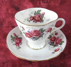 Cup And Saucer Roses Forget-Me-Nots English Bone China Quatrefoil Cup 1950s