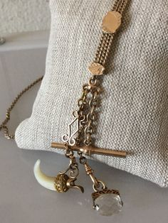 Antique Victorian Wactch Chain Necklace w/ Horn by DayOldToyStore