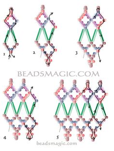 Beaded Earring Patterns | Free pattern for pretty beaded necklace Fence | Beads Magic