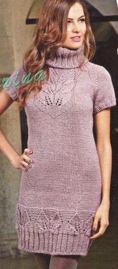 Leaf Tunic Knitted Dress - Knitting Kingdom