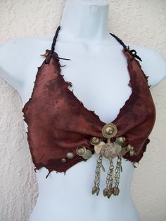 Mahogany Gypsy Halter Bra -- tribal leather fusion belly dance amazon larp brown amazon costume. $85.00, via Etsy.