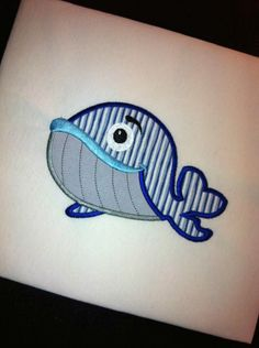 MR. WHALE Machine EMbroidery Design by EastCoastApplique on Etsy https://www.etsy.com/listing/151180531/mr-whale-machine-embroidery-design