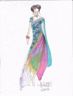 Costume Design Sketches | Indian Sari Costume Design Print by rebekkalien .
