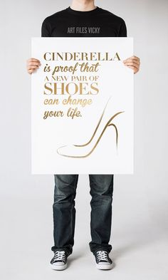 Gold funny wall art print, Printable poster, Cinderella gold print, wall decor, fashion quote, digital typography print, INSTANT DOWNLOAD. by ArtFilesVicky on Etsy https://www.etsy.com/listing/199394232/gold-funny-wall-art-print-printable