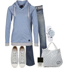 """Grey & Blue"" Looks comfy & cute!"