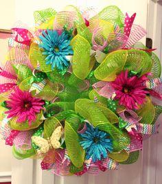Spring mesh wreath.