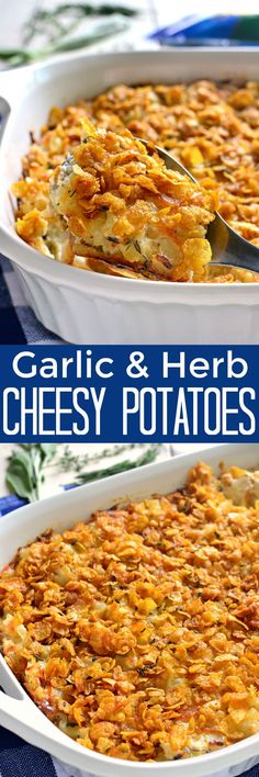 These Garlic & Herb Cheesy Potatoes are a delicious twist on a classic! Made with fresh herbs, minced garlic, and a blend of mozzarella and Parmesan cheese, these potatoes are guaranteed to become a new family favorite!