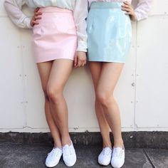 Vinyl Mini Skirt in new pastel colors! #AmericanApparel