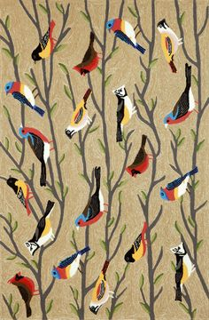 Frontporch Birds Neutral Indoor/Outdoor Area Rug