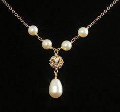 Wedding Necklace  -- Rhinestone Pearl Wedding Jewelry, Y Drop Necklace, Pearl Bridal Necklace, Swarovski Pearls and Gold -- PORTIA. $36.00, via Etsy.