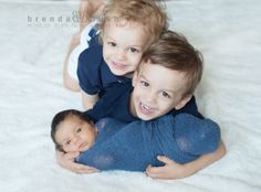 Can't stand the cuteness of these three boys. sibling love brothers newborn photography New York newborn photographer @brendabushphoto