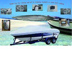 """600D PU Recubierto Pesado Trailerable Barco Cubierta de 17'-19'X96 """", Clásico, Accesorios de Alta Calidad A Prueba de agua, UV anti, de grado marino"""