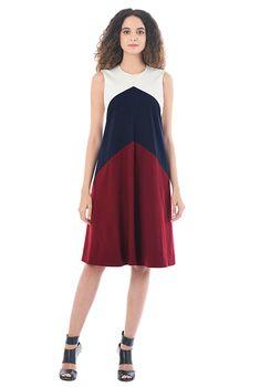 I <3 this Chevron colorblock cotton knit shift dress from eShakti