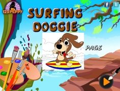 Online coloring boy surfing