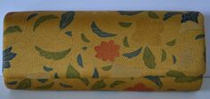 Clutch purse yellow gold silk with floral pattern by Styled in Japan, c.1976