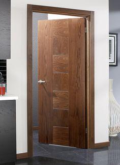 Catalonia Walnut Internal Door and grey floor tiles Bedroom Door Design, Door Design Interior, Design Interiors, External Oak Doors, Internal Doors, Wooden Door Design, Wooden Doors, Porte Design, Hanging Barn Doors