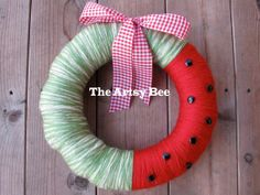 Watermelon Yarn Wreath--Do with tulle, fabric or ribbons--black buttons for seeds