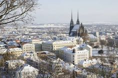 Wintry historic center of Brno city with Petrov cathedral, Czech republic Information Center, Tourist Information, Czech Republic, Paris Skyline, Cathedral, Stock Photos, Places, Travel, Type 3