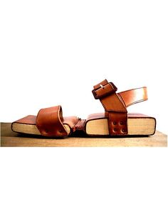 size 6.5 ROBERT CLERGERIE SANDALS  wood and leather / japanese  style