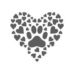 Silhouette Design Store: paw print hearts